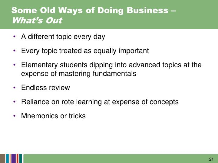 Some Old Ways of Doing Business –