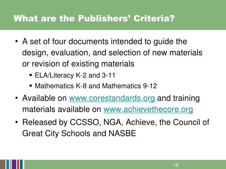 What are the Publishers' Criteria?