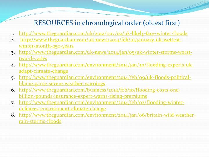 RESOURCES in chronological order (oldest first)