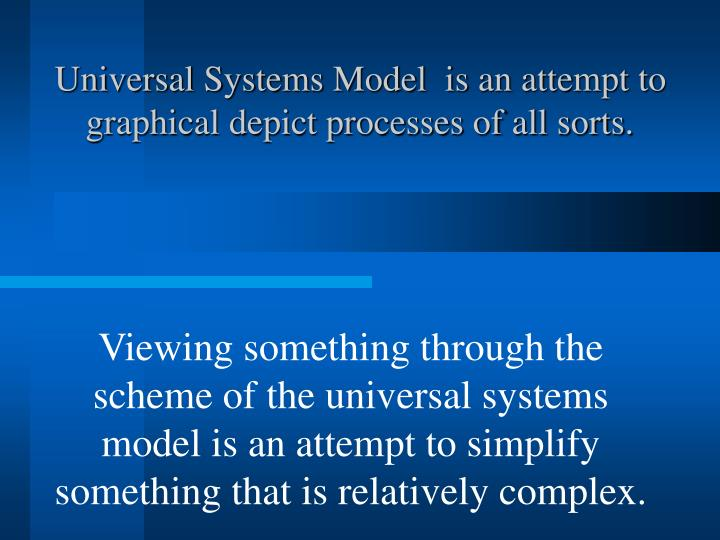 Universal Systems Model  is an attempt to graphical depict processes of all sorts.