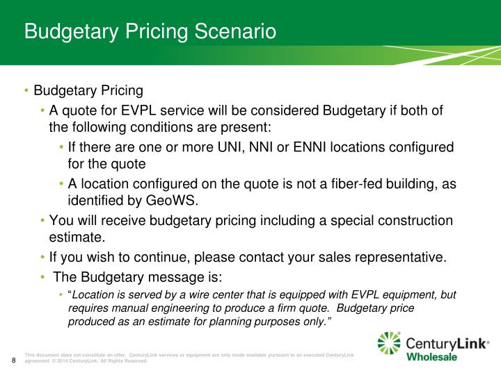 Budgetary Pricing Scenario
