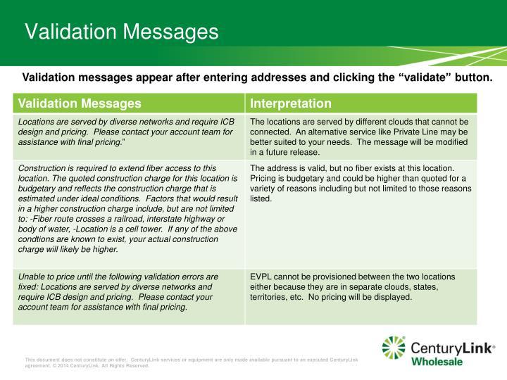 Validation Messages
