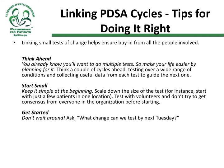 Linking PDSA Cycles - Tips for Doing It Right