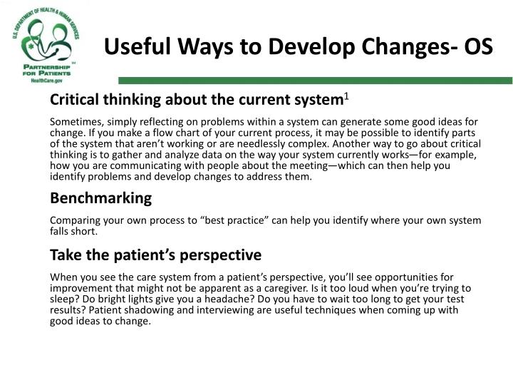 Useful Ways to Develop Changes- OS