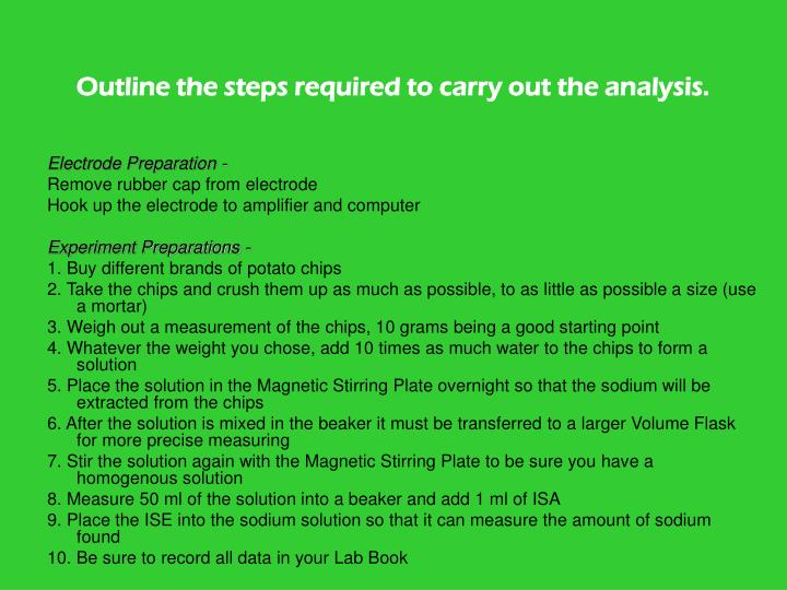 Outline the steps required to carry out the analysis.