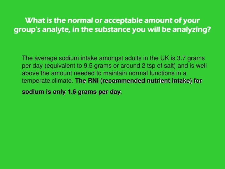 What is the normal or acceptable amount of your group's analyte, in the substance you will be analyzing?