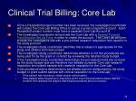 clinical trial billing core lab