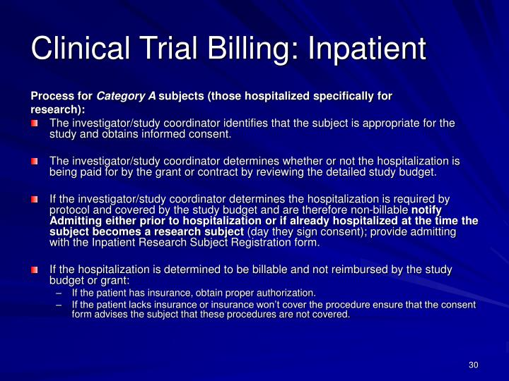 Clinical Trial Billing: Inpatient
