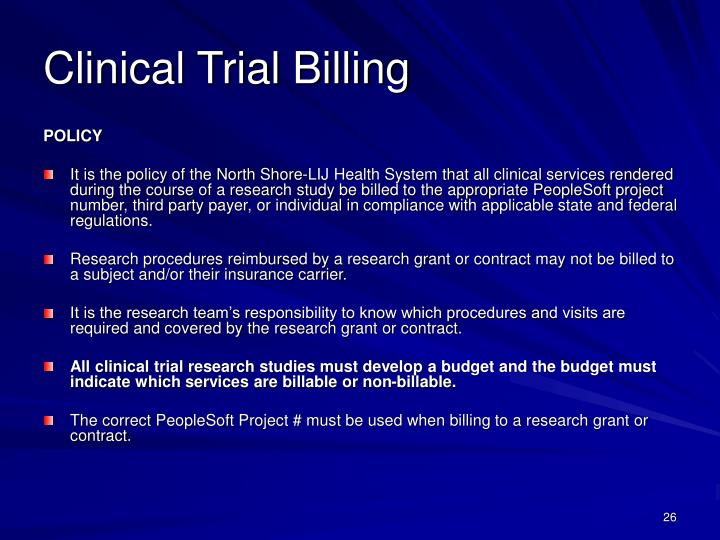 Clinical Trial Billing