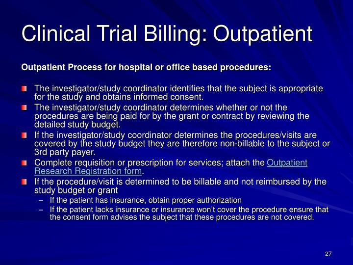 Clinical Trial Billing: Outpatient