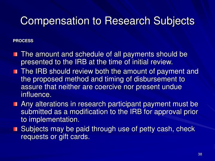 Compensation to Research Subjects