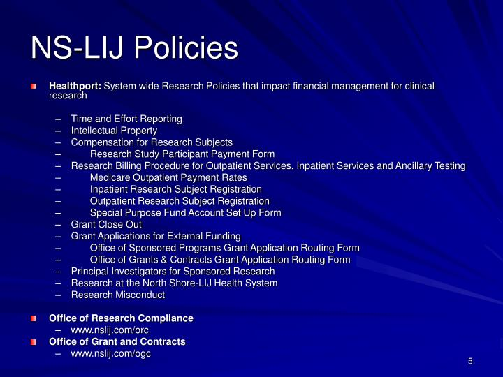 NS-LIJ Policies