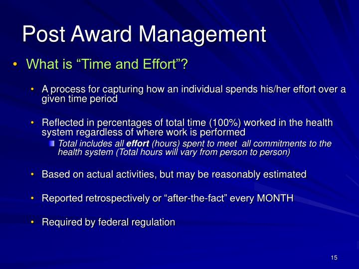"What is ""Time and Effort""?"