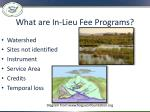 what are in lieu fee programs