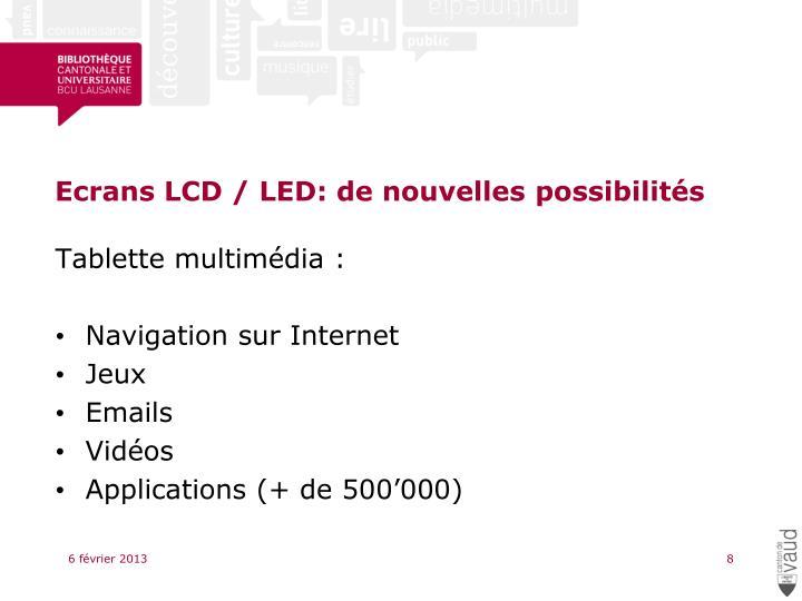 Ecrans LCD / LED: de nouvelles possibilités