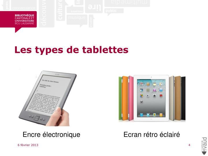Les types de tablettes