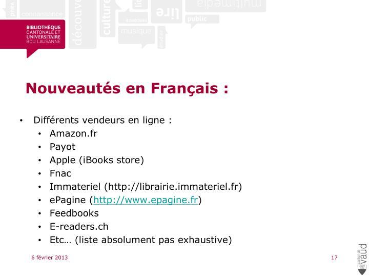 Nouveautés en Français :
