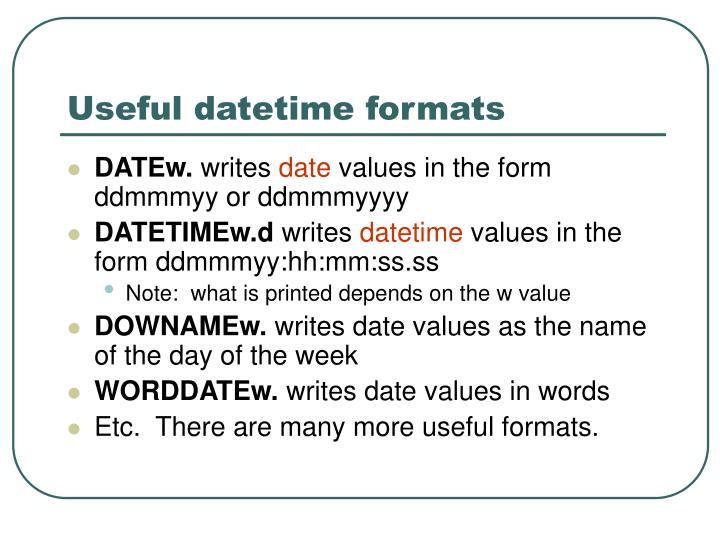 Useful datetime formats