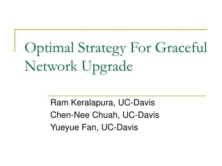 Optimal Strategy For Graceful Network Upgrade