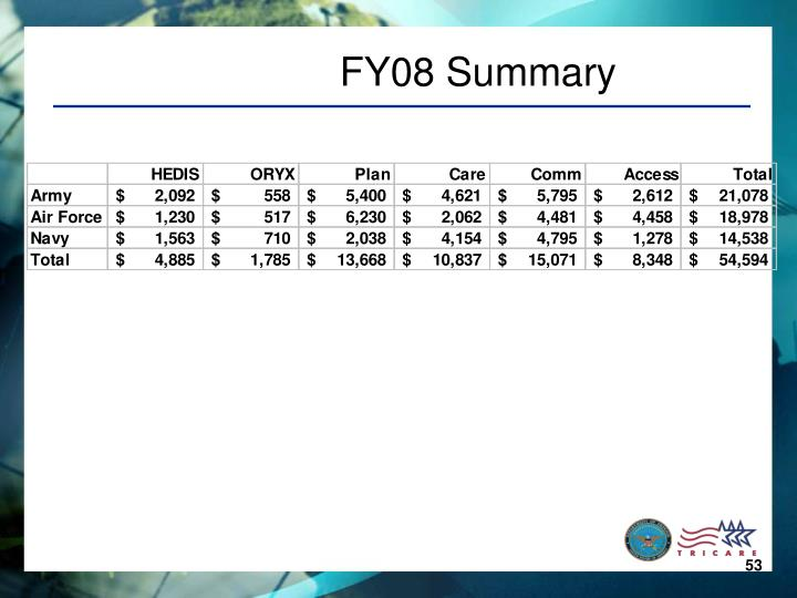FY08 Summary