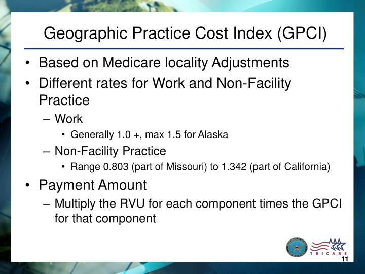 Geographic Practice Cost Index (GPCI)