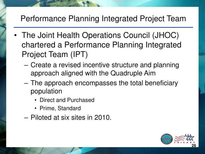 Performance Planning Integrated Project Team
