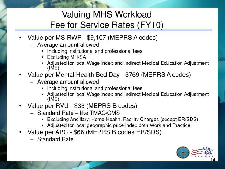 Valuing MHS Workload