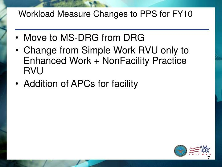 Workload Measure Changes to PPS for FY10
