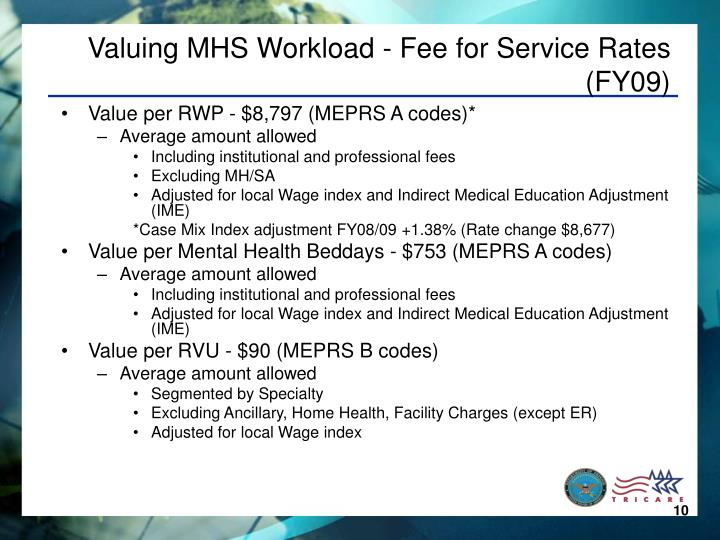 Valuing MHS Workload - Fee for Service Rates (FY09)