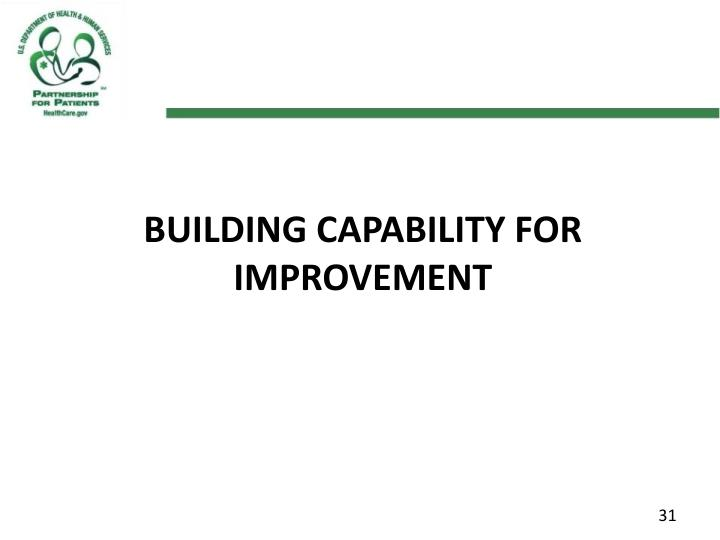 Building Capability for Improvement