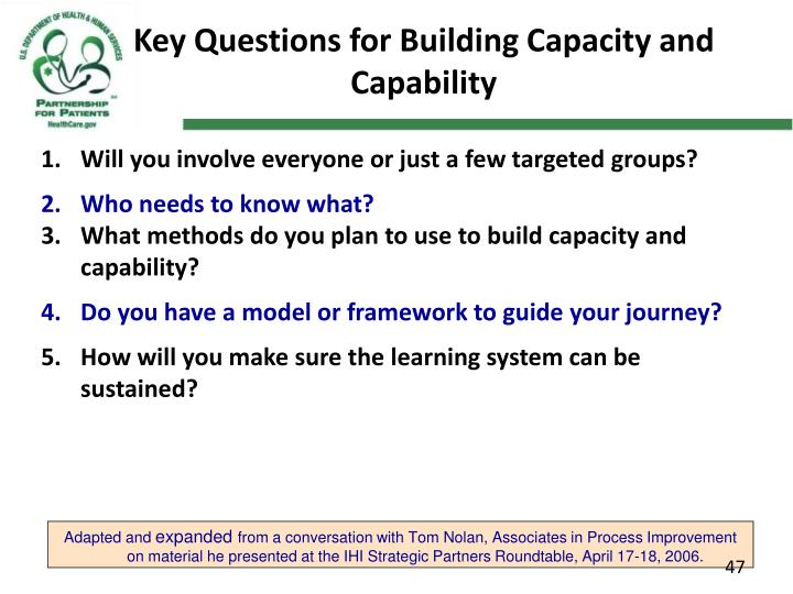 Key Questions for Building Capacity and Capability