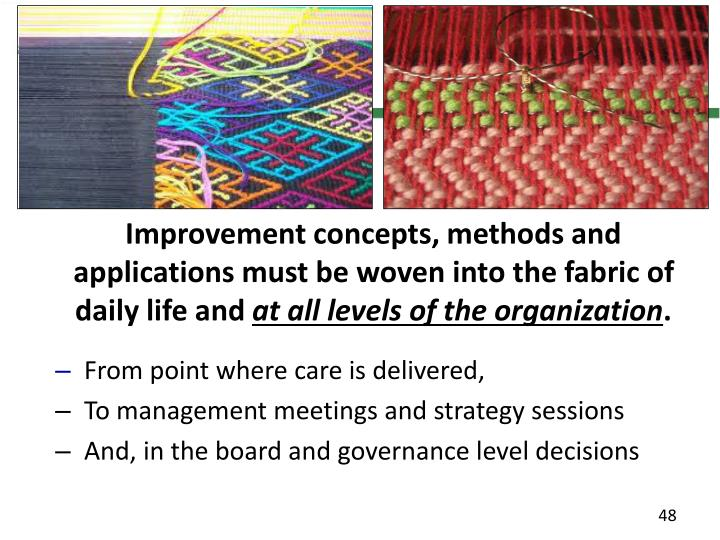 Improvement concepts, methods and applications must be woven into the fabric of daily life and