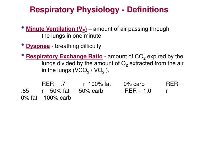 Respiratory Physiology - Definitions