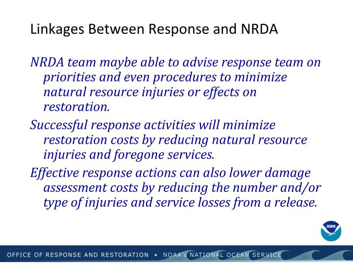 Linkages Between Response and NRDA