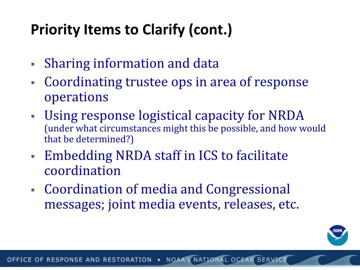 Priority Items to Clarify (cont.)
