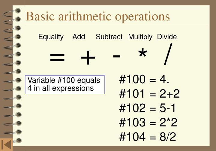 Basic arithmetic operations