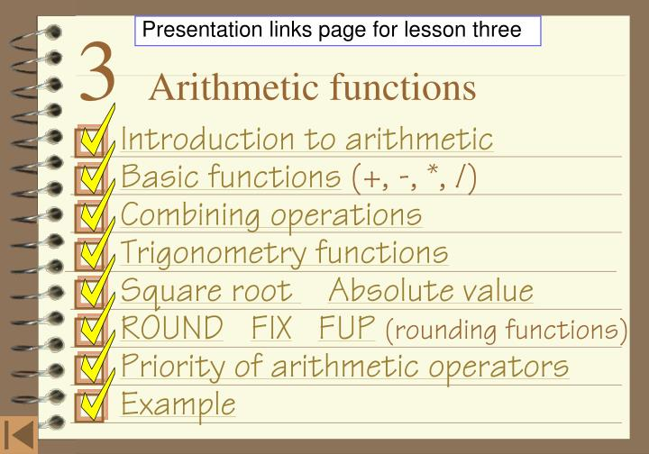 Presentation links page for lesson three