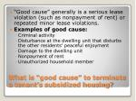 what is good cause to terminate a tenant s subsidized housing