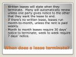 when does a lease terminate
