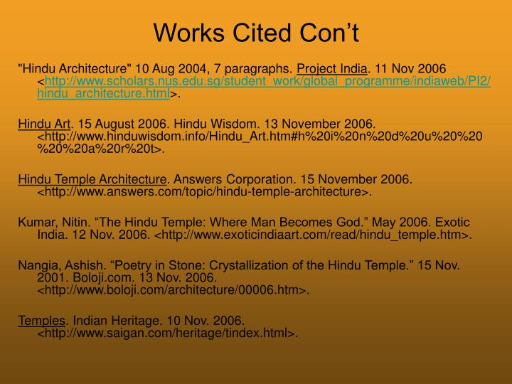 Works Cited Con't