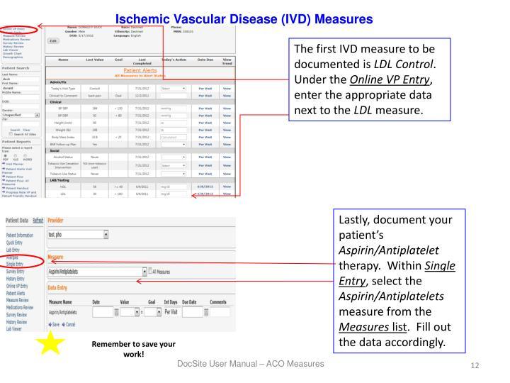 Ischemic Vascular Disease (IVD) Measures
