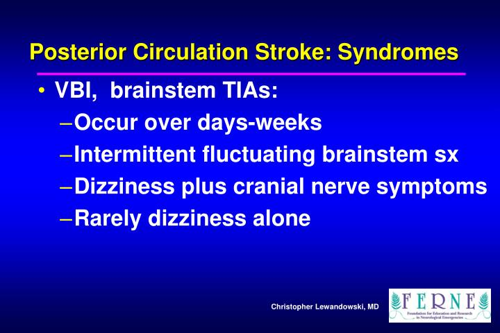 Posterior Circulation Stroke: Syndromes