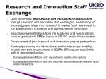 research and innovation staff exchange