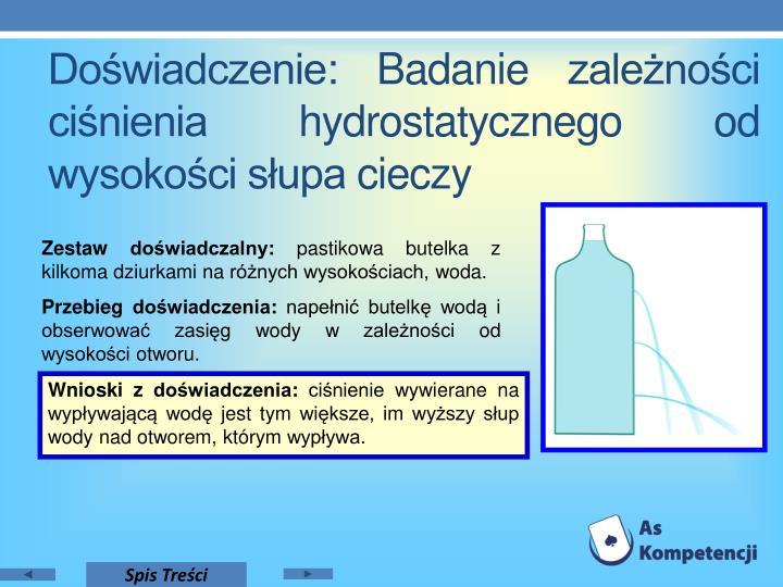 Doświadczenie: Badanie zależności ciśnienia hydrostatycznego od wysokości słupa cieczy