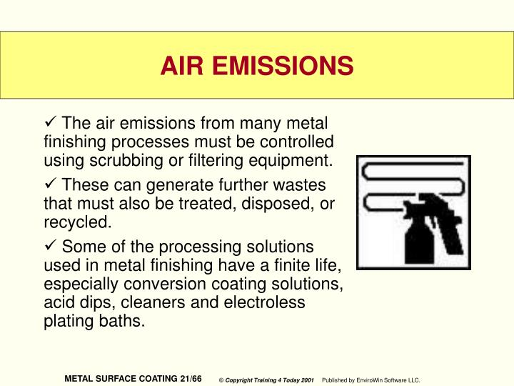The air emissions from many metal finishing processes must be controlled using scrubbing or filtering equipment.