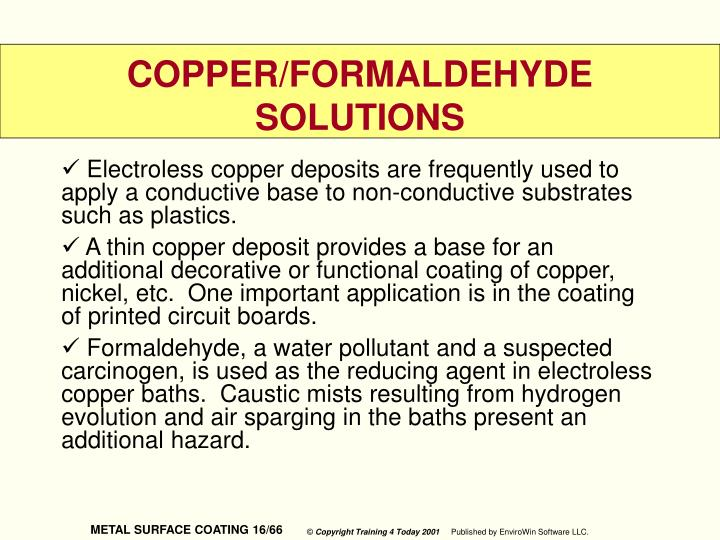 Electroless copper deposits are frequently used to apply a conductive base to non-conductive substrates such as plastics.