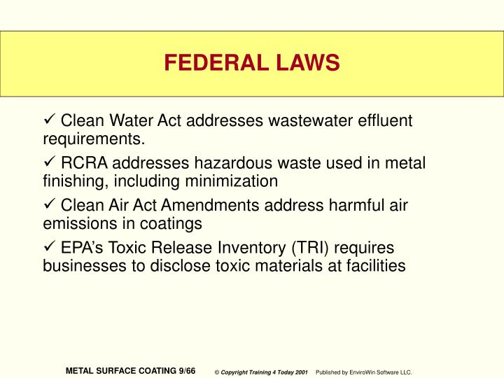 Clean Water Act addresses wastewater effluent requirements.