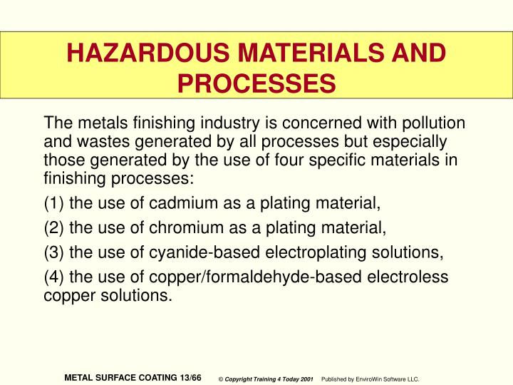 The metals finishing industry is concerned with pollution and wastes generated by all processes but especially those generated by the use of four specific materials in finishing processes: