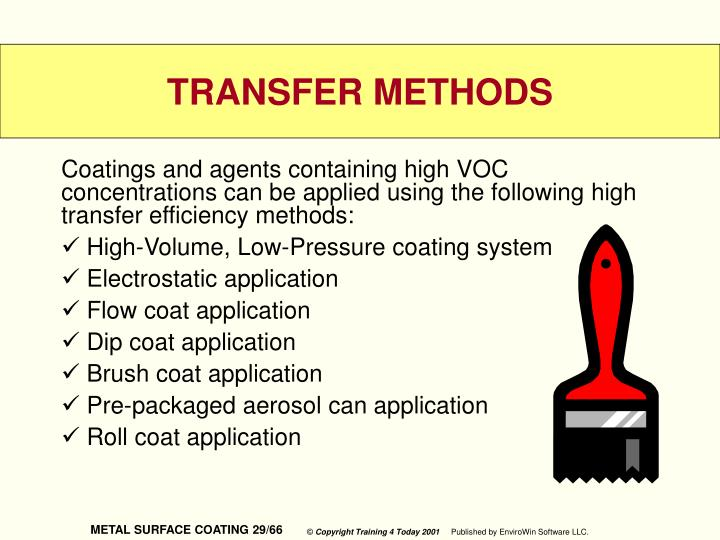 Coatings and agents containing high VOC concentrations can be applied using the following high transfer efficiency methods:
