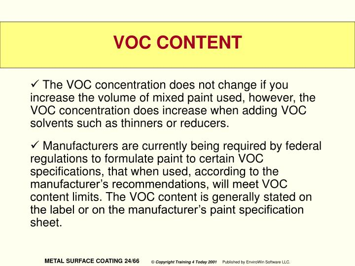 The VOC concentration does not change if you increase the volume of mixed paint used, however, the VOC concentration does increase when adding VOC solvents such as thinners or reducers.